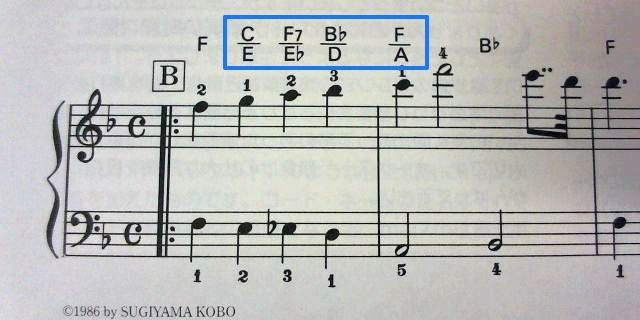 ドラクエ楽譜の分数コード