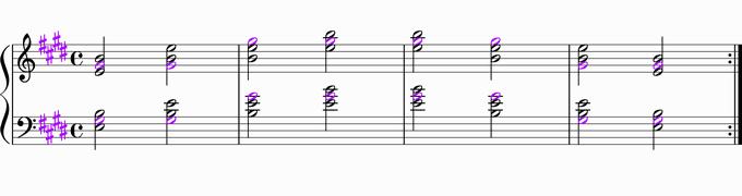 Eの転回形移調練習用楽譜