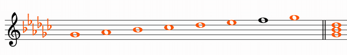 G♭メジャースケール楽譜