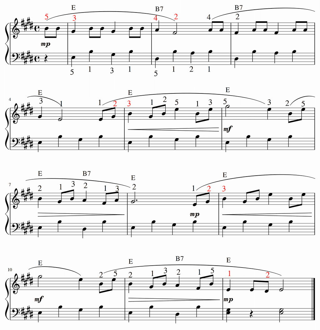 バスティン3「アリア」in E Major 移調譜
