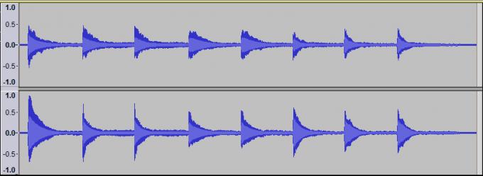 ペダルの踏み変えした波形