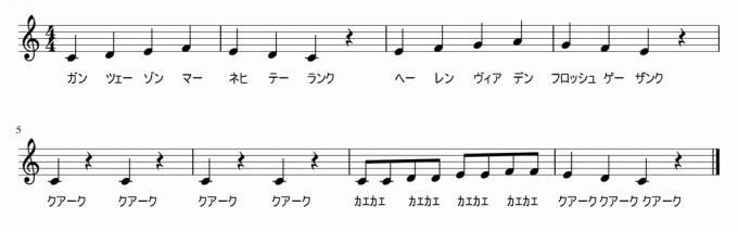 カエルの合唱 ドイツ語発音書いてみたw