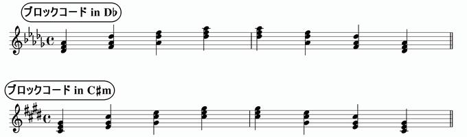 バスティンベーシックスピアノ4 転回形のおさらい 移調練習 ブロックコード in D♭ & C♯m 楽譜