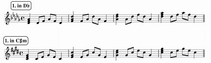 バスティンベーシックスピアノ4 転回形のおさらい 移調練習 次のリズム1 in D♭ & C♯m