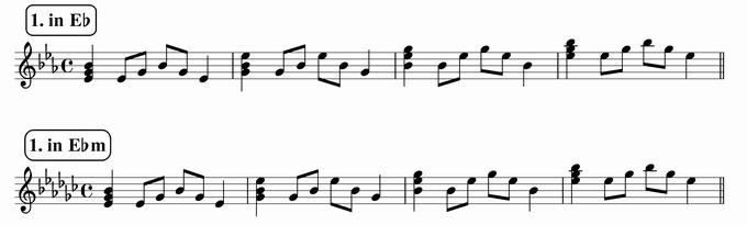 バスティンベーシックスピアノ4 転回形のおさらい 移調練習 次のリズム1 in E♭ & E♭m