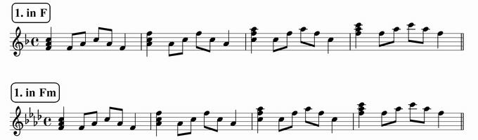 バスティンベーシックスピアノ4 転回形のおさらい 移調練習 次のリズム1 in F & Fm