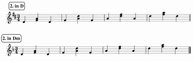 バスティンベーシックスピアノ4 転回形のおさらい 移調練習 次のリズム2 inD  & Dm 楽譜