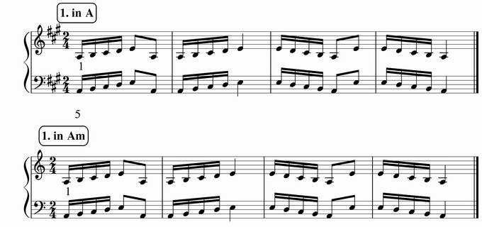 バスティン4巻、16分音符予備練習1 in A & Am 楽譜