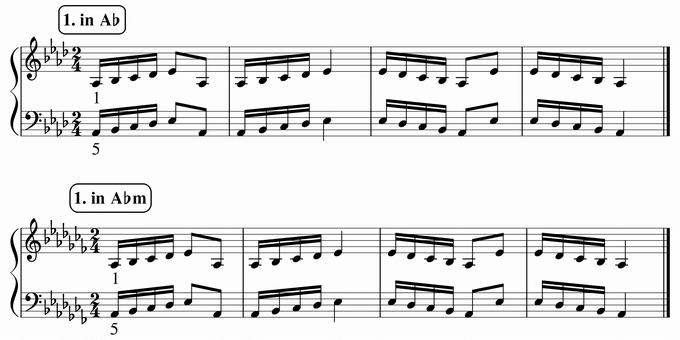 バスティン4巻、16分音符予備練習1 in A♭ & A♭m 楽譜