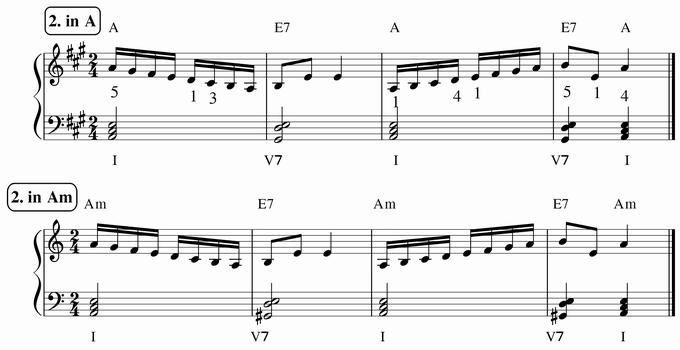 バスティン4巻、16分音符予備練習2 in A & Am 楽譜