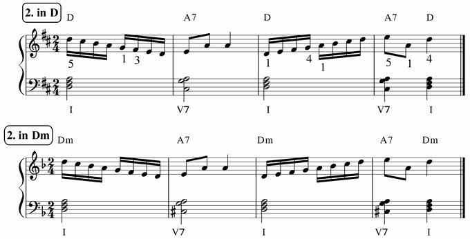 バスティン4巻、16分音符予備練習2 in D & Dm 楽譜