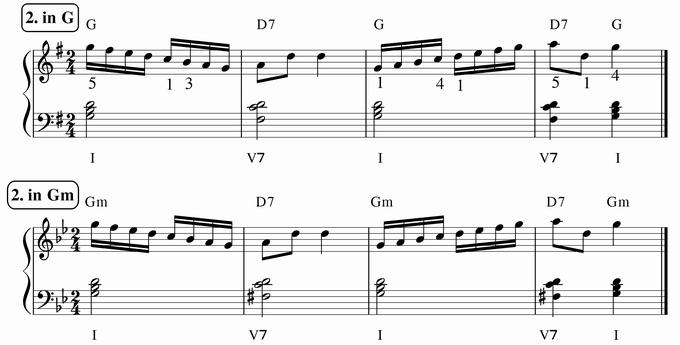 バスティン4巻、16分音符予備練習2 in G & Gm 楽譜