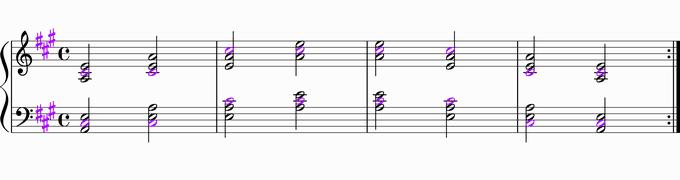 Aの転回形移調練習用楽譜