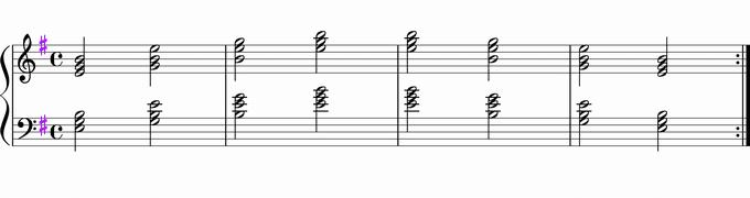 Emの転回形移調練習用楽譜