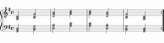 Gの転回形移調練習用楽譜