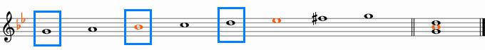 ト短調和声的短音階と主和音・Gm