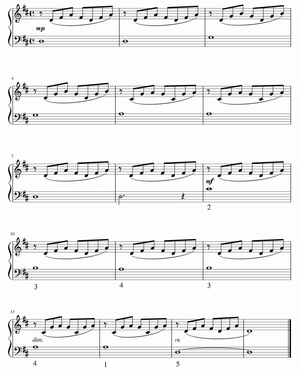変ニ長調のプレリュード 移調練習 in D Major
