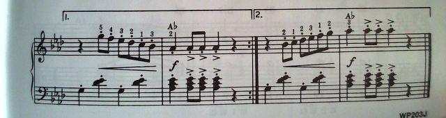 3段目の運指 in A♭