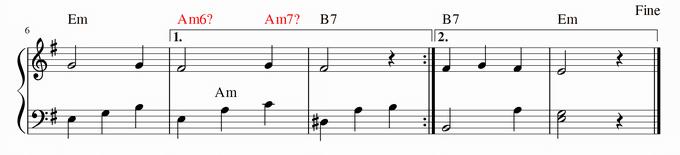 2段目、7小節目のコードは何?