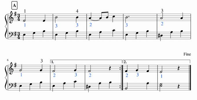 「冬の讃歌」A楽節、運指対案
