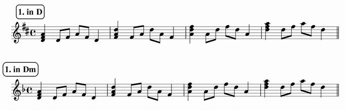 バスティンベーシックスピアノ4 転回形のおさらい 移調練習 次のリズム1 in D& Dm
