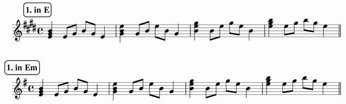 バスティンベーシックスピアノ4 転回形のおさらい 移調練習 次のリズム1 in E & Em