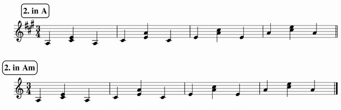 バスティンベーシックスピアノ4 転回形のおさらい 移調練習 次のリズム2 in A & Am 楽譜