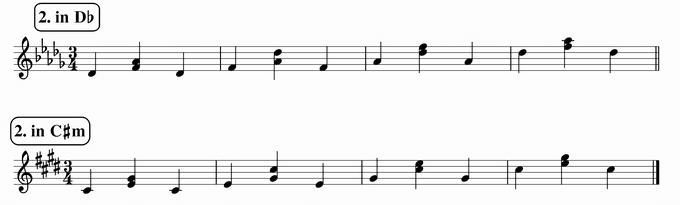 バスティンベーシックスピアノ4 転回形のおさらい 移調練習 次のリズム2 in D♭ & C♯m 楽譜