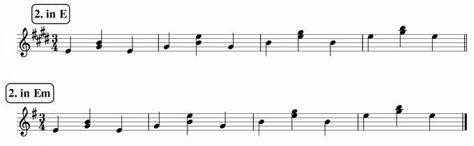 バスティンベーシックスピアノ4 転回形のおさらい 移調練習 次のリズム2 in E & Em 楽譜