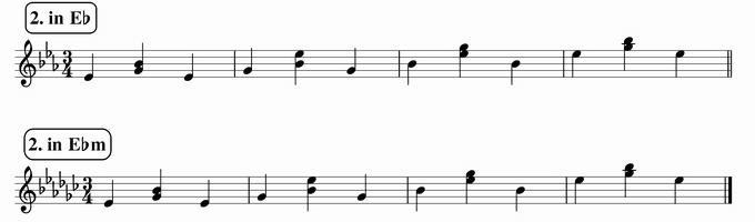 バスティンベーシックスピアノ4 転回形のおさらい 移調練習 次のリズム2 in E♭ & E♭m 楽譜