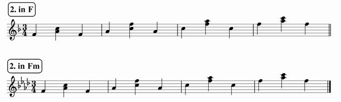 バスティンベーシックスピアノ4 転回形のおさらい 移調練習 次のリズム2 in F & Fm 楽譜