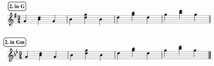 バスティンベーシックスピアノ4 転回形のおさらい 移調練習 次のリズム2 in G & Gm 楽譜