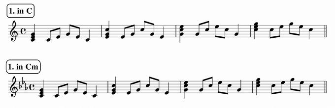 バスティンベーシックスピアノ4 転回形のおさらい 次のリズム1 in C & Cm 楽譜(写譜)