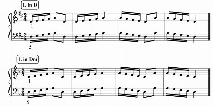 バスティン4巻、16分音符予備練習1 in D & Dm 楽譜