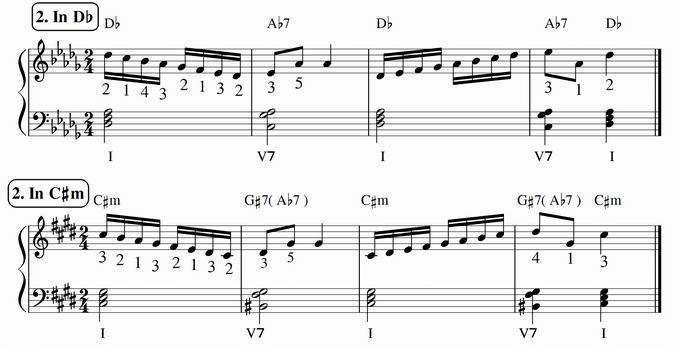 バスティン4巻、16分音符予備練習2 in D♭ & C♯m 楽譜