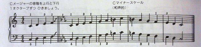 同主調の長音階と和声的短音階の練習例
