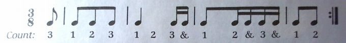 J. C. バッハのメヌエットのリズムカウント練習