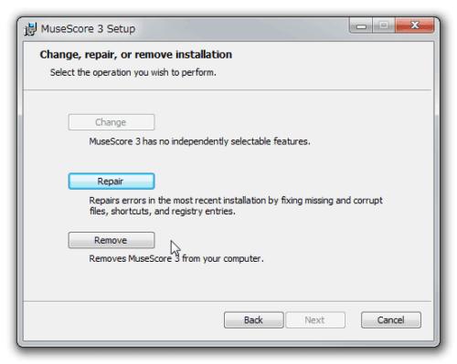 MuseScore 再インストールオプション